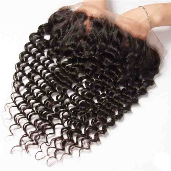 Deep Wave Remy Human Hair 13X4 Lace Frontal