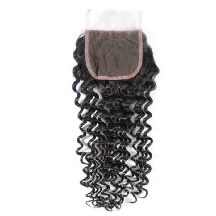 Deep Wave Remy Human Hair 4X4 Lace Closure