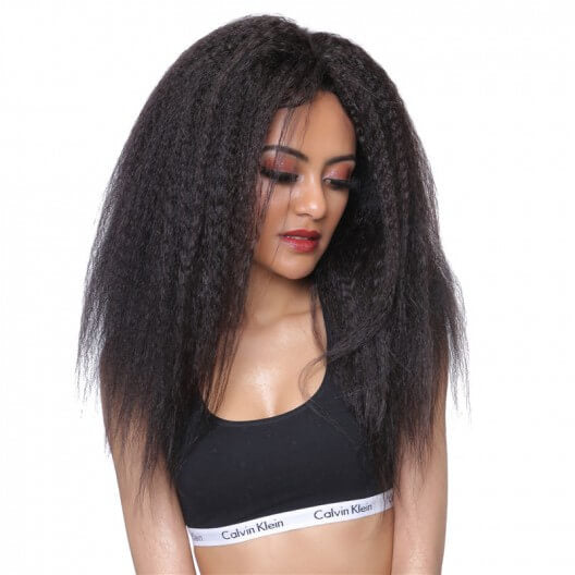 Kinky Straight Human Hair Lace Front Wigs