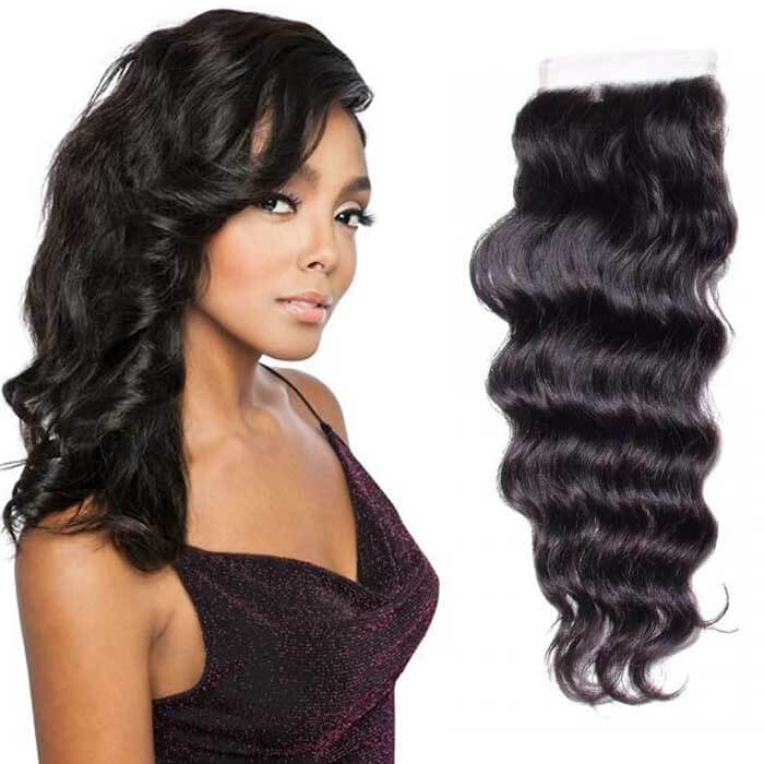 Natural Wave Remy Human Hair 4X4 Lace Closure