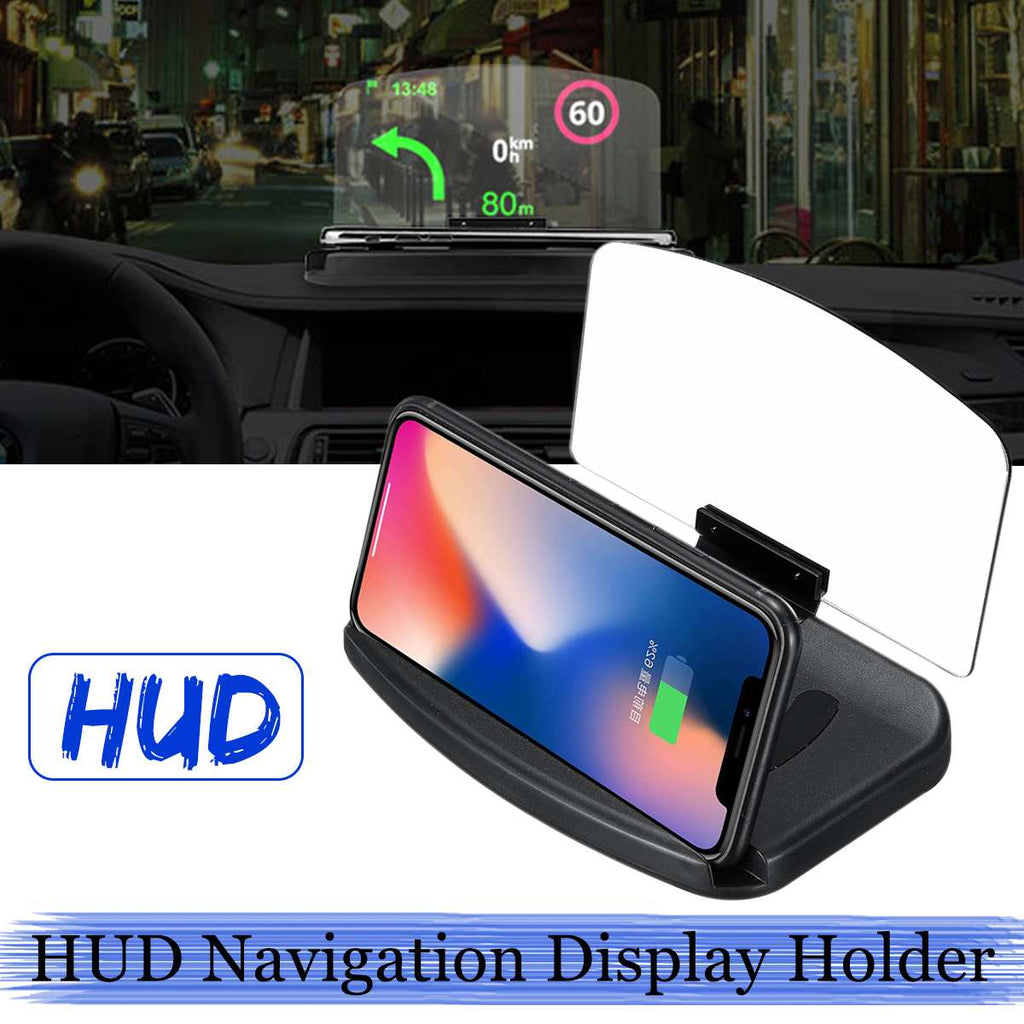 Qi Wireless Charger Car HUD GPS For Samsung S9 Plus S10+ S10E 10W/7.5W Head Up Display Car Phone Holder Charging For iPhone XR 8