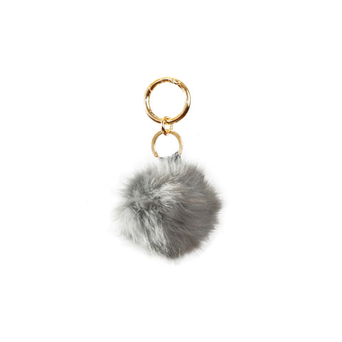 Fluffy - Pompon Key Chain - Soft Gray