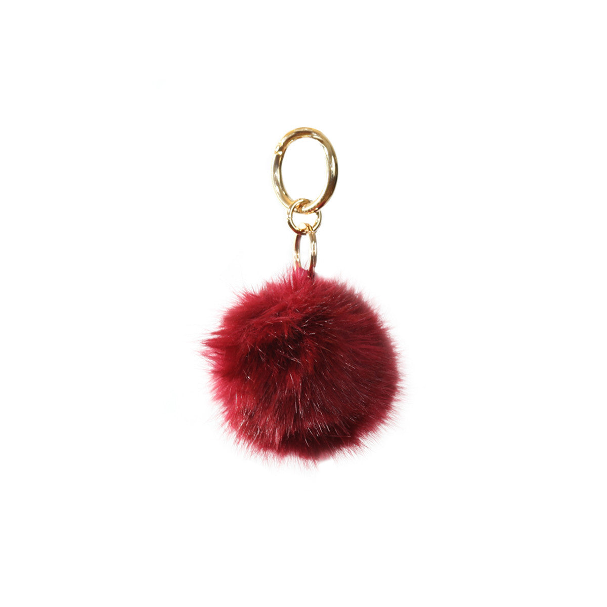 Fluffy - Pompon Key Chain - Dark Wine