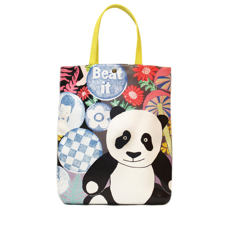 Lisa Grue - Tall Canvas Carryall - Neon Panda