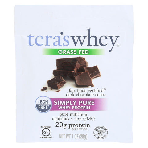 Image of Teras Whey Protein Powder - Whey - Fair Trade Certified Dark Chocolate Cocoa - 1 Oz - Case Of 12