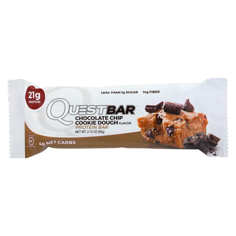 Quest Bar - Chocolate Chip Cookie Dough - 2.12 Oz - Case Of 12