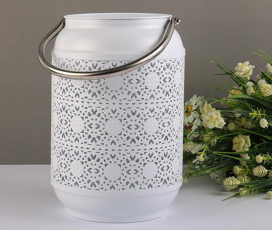 White Lace Bucket Metal Candle Lamp/Vase