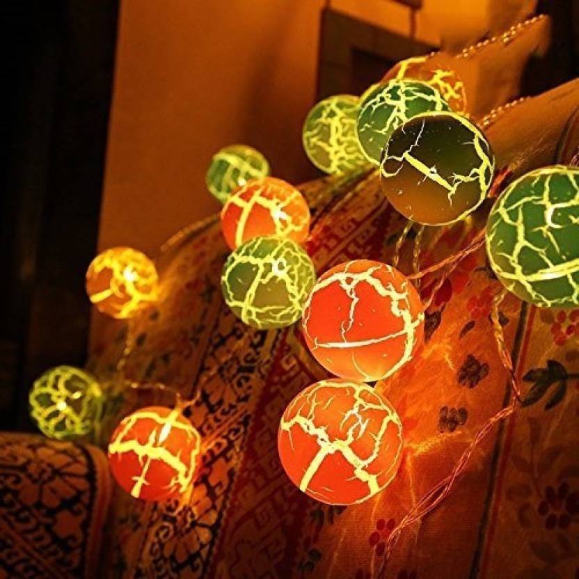 20 Multi Crack Rattan Balls Fairy Light Cell Operated