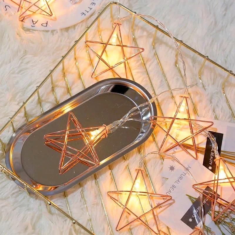Rose Gold Fairies Metal Star String Light 2M Long Cell Operated
