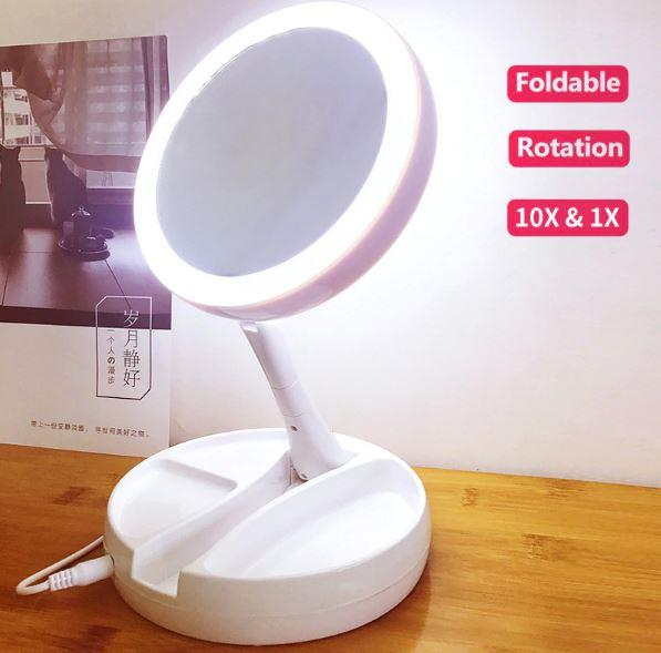 Led Foldable 10X Magnifier Make Mirror USB Desktop Double Side Makeup Touchup Flash Folding Lamp Mirror New