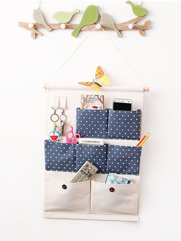 Wall Hanging Bag Multilayers Simple Seven Pockets Dots Pattern Storage Bag