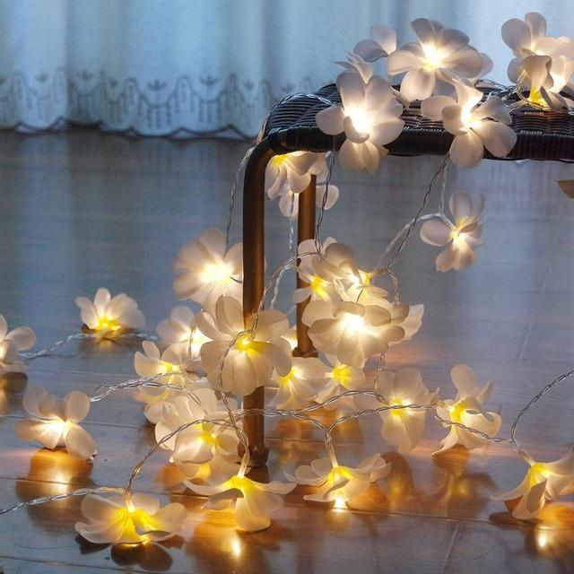 Led Frangipani White Warm Fairy Lights Strings Battery Operated