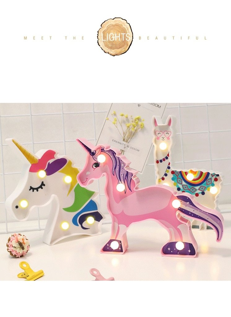 Cute Unicorn Night Light 3D Nightlight Marquee Letter Gift Toys Bedroom Decor