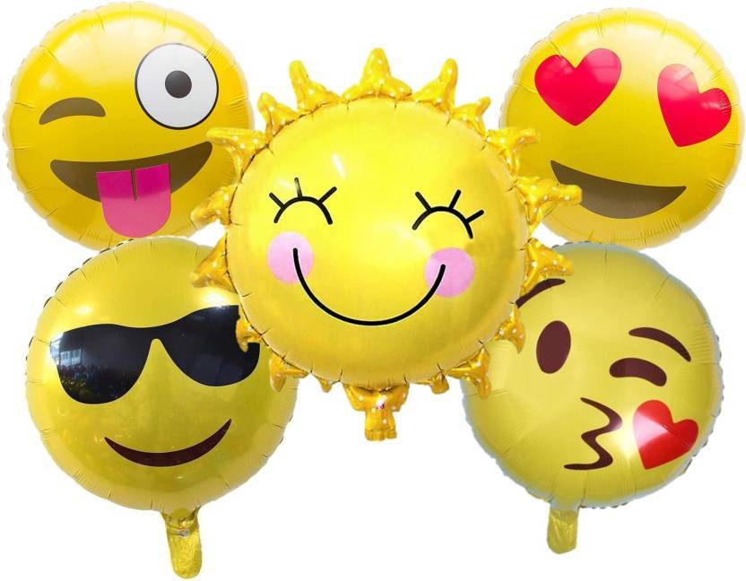 Sun Shape Emoji Foil Balloon 5 Pieces Set