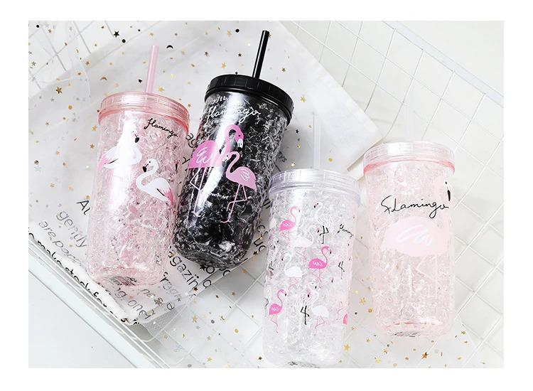 Vogue Flamingo Straw Plastic Cups Double Summer Ice Glass Portable Cooling Cup Coolant Compartment Built-In With Healthy