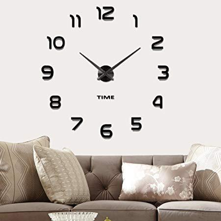 Vangold Modern Mute DIY Frameless Large Wall Clock 3D Mirror Sticker Metal Big Watches Home Office