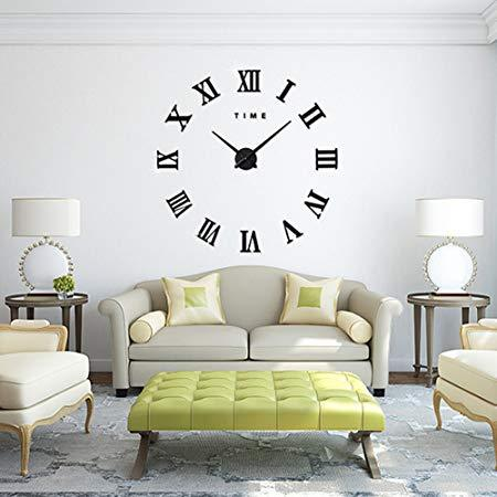 Modern DIY Large Wall Clock Big Watch Decal 3D Stickers Roman Numerals Wall Clock Home
