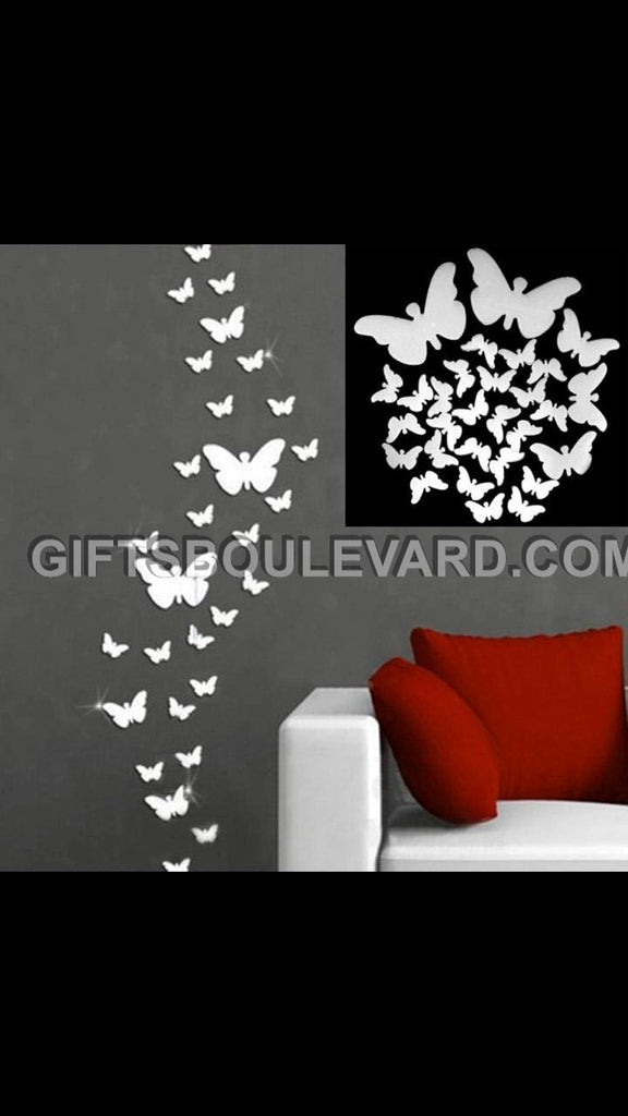 Butterfly DIY Modern 3D Mirror Wall Sticker Home Decor Living Room Wall Decal Art Mural Decorative WallPaper
