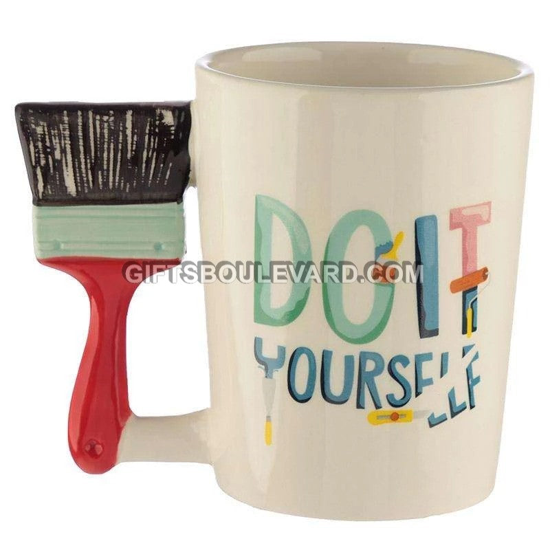 Ceramic DIY Paint Brush Shaped Handle Mug