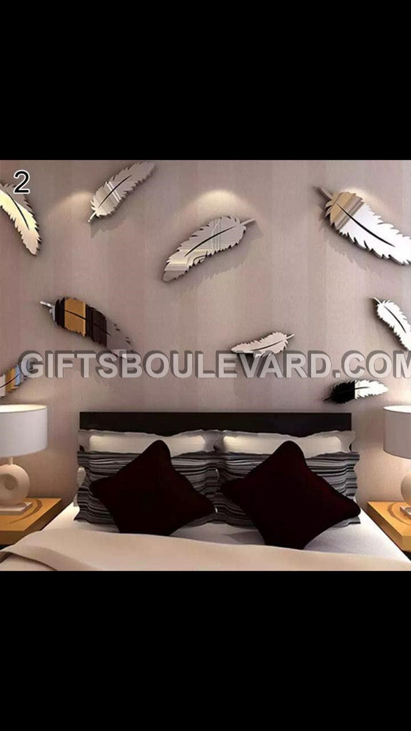 Feather DIY Modern 3D Mirror Wall Sticker Home Decor Living Room Wall Decal Art Mural Decorative WallPaper