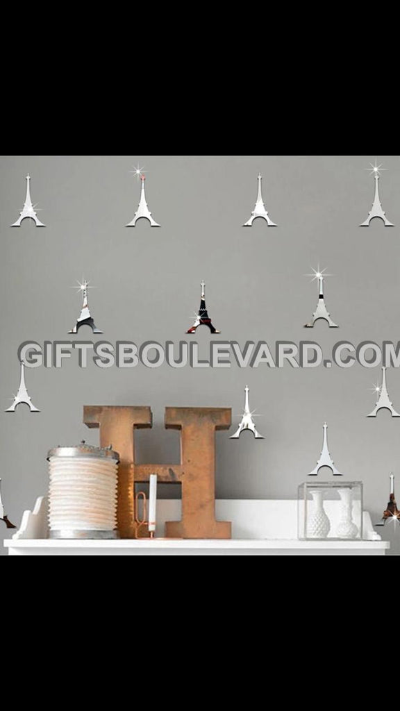 Eiffel Tower DIY Modern 3D Mirror Wall Sticker Home Decor Living Room Wall Decal Art Mural Decorative WallPaper