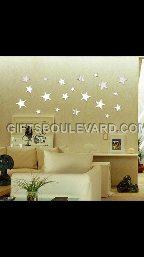 Stars DIY Modern 3D Mirror Wall Sticker Home Decor Living Room Wall Decal Art Mural Decorative WallPaper