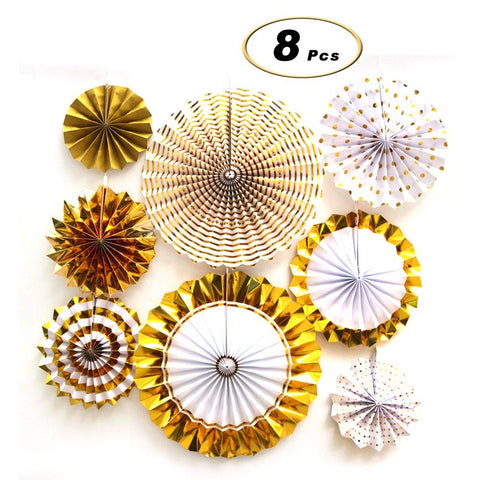 X Hot Popcorn 8 Pcs Hanging Paper Fans Set, Gold Round Pattern for Party Supplies Wedding Decorations