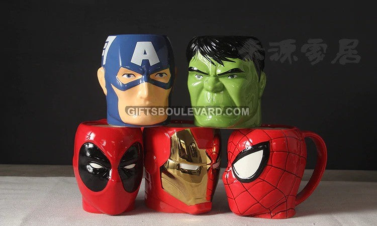 Creative 3D Cartoon Super Hero Iron man and SpiderMan TreeMan Cup Milk Coffee Ceramic Mugs Fashion The Avengers Baby flowerpot