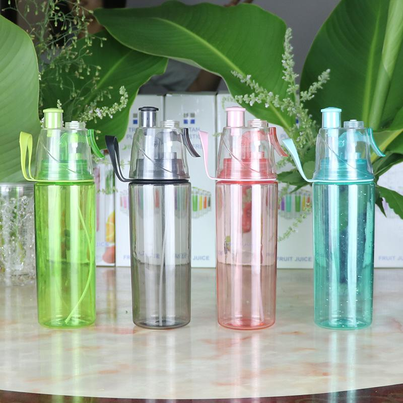High-capacity Plastic Water Spray Button sports Bottles Portable Dual-purpose Kettle my Fog Spray drinking kettles