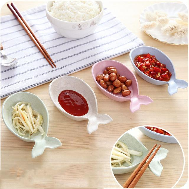 FISH SHAPE SOY SAUCE DISH ECO-FRIENDLY WHEAT STRAW SNACK PLATE HOUSEHOLD SAUCE VINEGAR DISHES