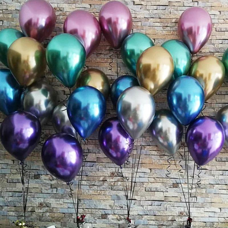50 Pcs 12 inch Chrome Gold Flashing Balloon Metal Balloon Thick Balloons Latex Wedding Decoration Metal Balloons Multi