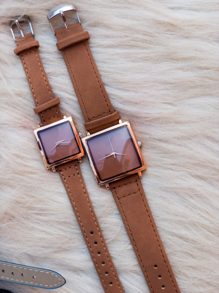 Square Dial Suede Couple Watch