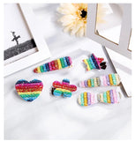5 Pcs Shiny Rainbow Hair Clips