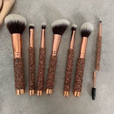 7 Pc Rose Golden Bling Brush Set