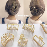 02 Pcs Women Girls Geometric Hair Claw Clamps Hair Crab Moon Shape Hair Claws