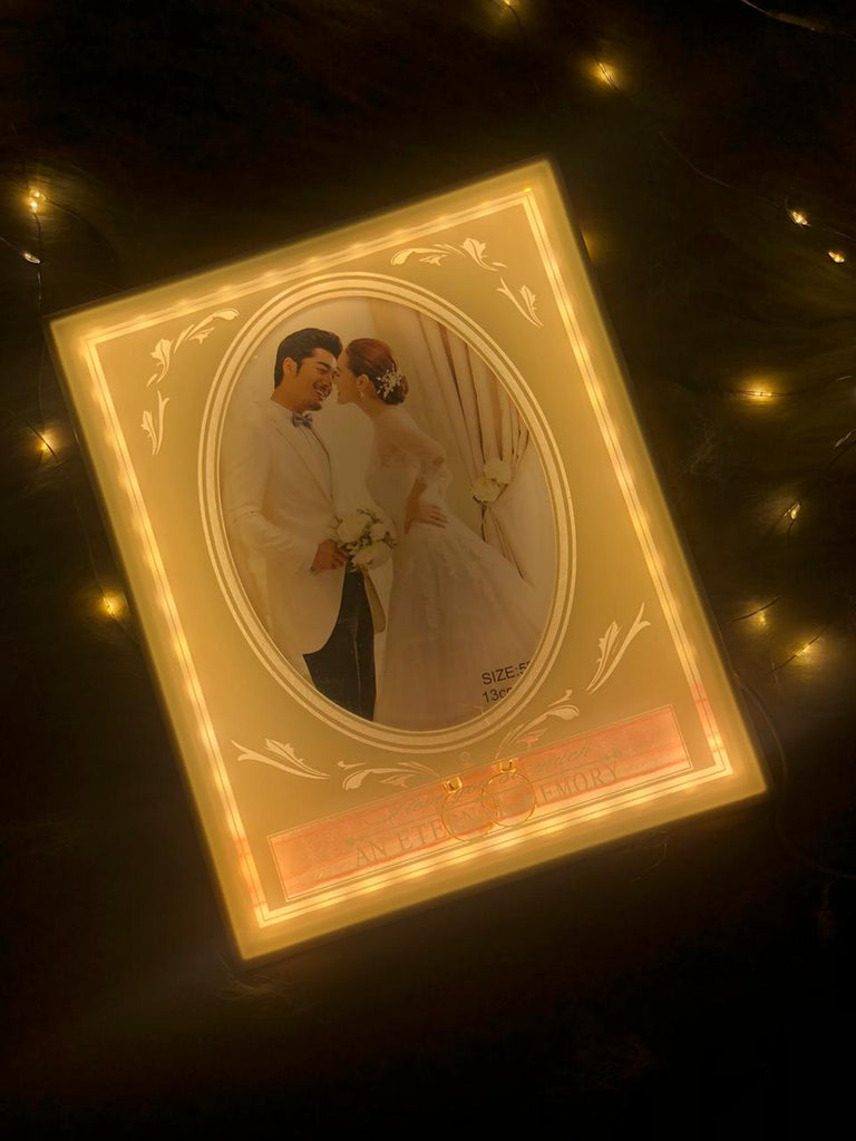 Led Lights Glass Photo Frame With Rings