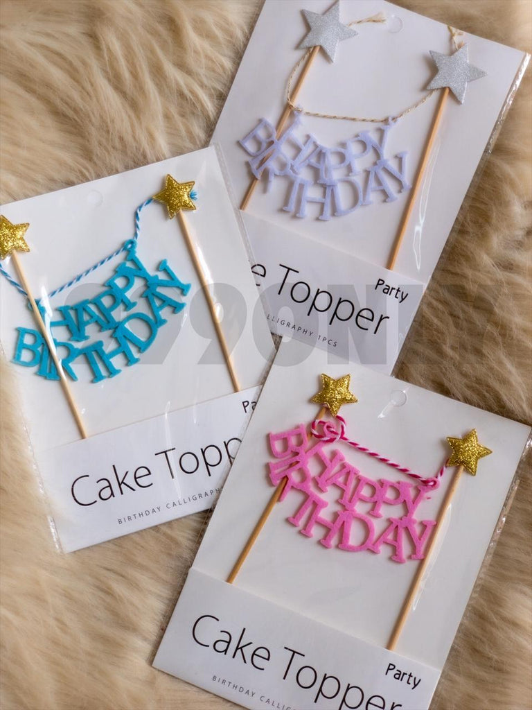 Happy Birthday Star Cake Topper