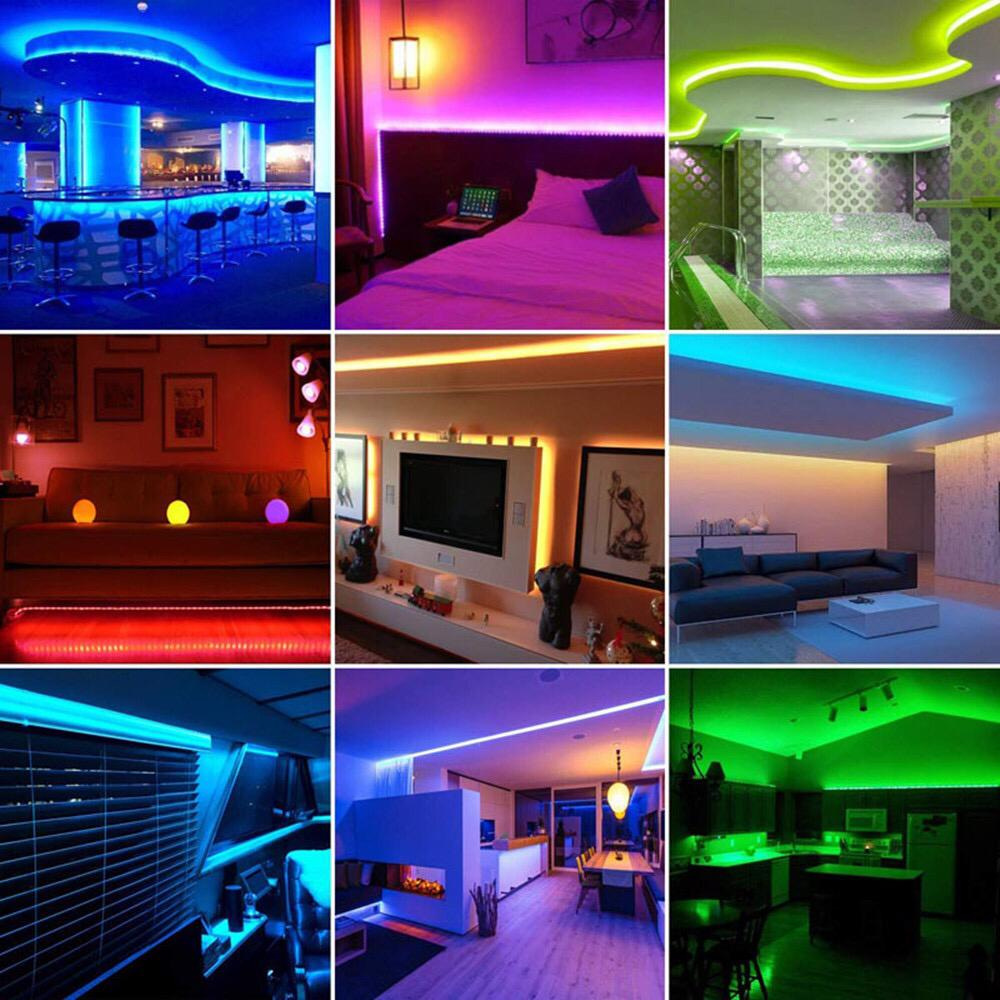 LED Strip Light RGB SMD Flexible Ribbon luces led light strip RGB 5M Tape Remote Control Adapter