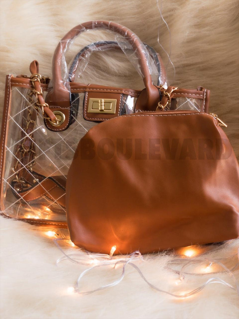 2 Pc Vintage Leather Hand Bag