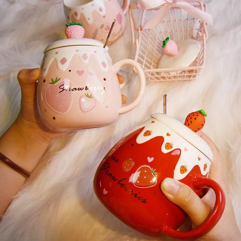 400ml Cute Ceramic Mug With Lid Spoon Creative Large Capacity Strawberry Water Cups Home Milk Breakfast Coffee Cup Girl Gifts