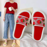 Women Cute Cartoon Fruit Strawberry Peach Slippers Girls Transparent Slides Ladies Casual Soft Bottom Slippers