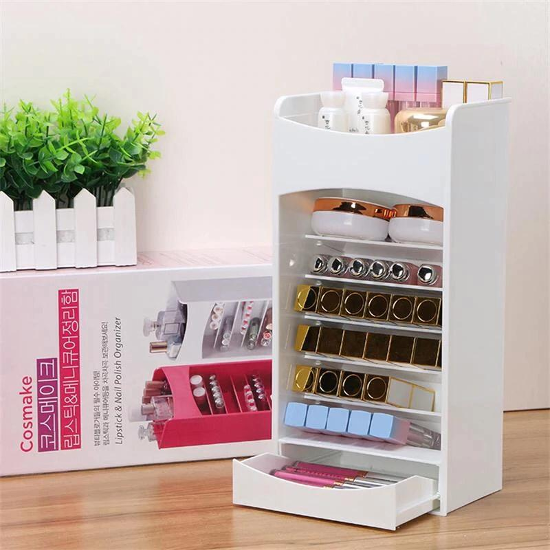 Nordic Cosmetic Storage Box Makeup Brush Lipstick Holder Dresser Jewelry Organizer Case Home Desktop Mask Drawer Storage Rack
