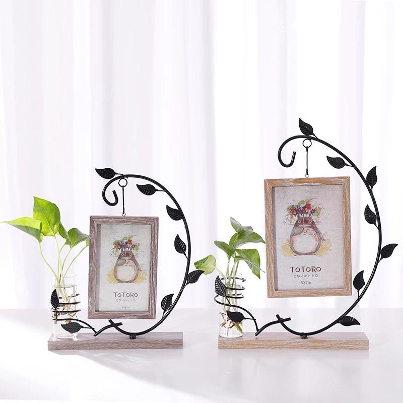 Creative Hanging Photo Frame Wooden Home Decoration Picture Frame With Hydroponics Bottle Desktop Ornaments Home Decor