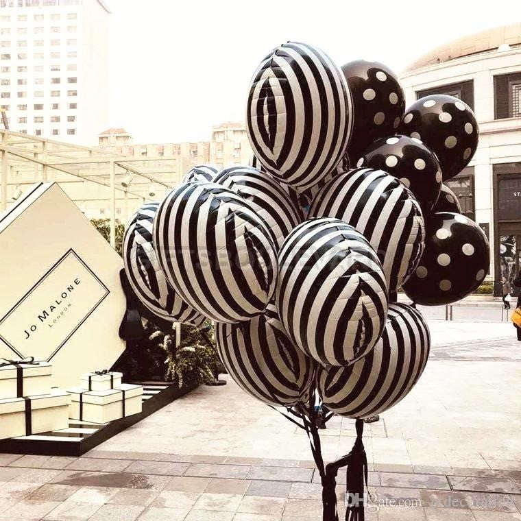 5 Pc set black and White Stripe Round Balloons Foil Stripe Balloon Birthday Party Decorations