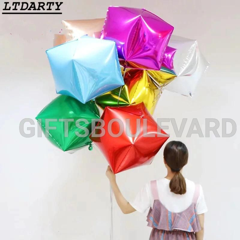 4D diamond Cube Shaped Helium Ball Solid Foil Balloons