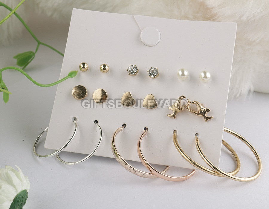 9 Pairs/ Set Mix Design Square Stud Earrings