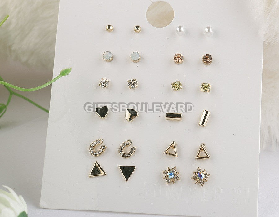 12 Pairs Earrings Triangle CZ Hollow Star Tiny Earring Set For Women