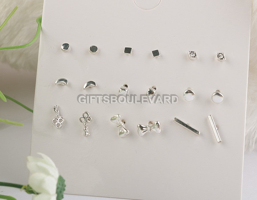 09 Pairs Silver Stud Earrings Set For Women/Girls