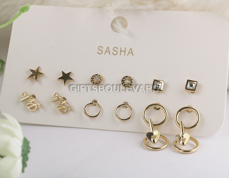 New Star Shaped Earrings For Women 06 Pairs/Set