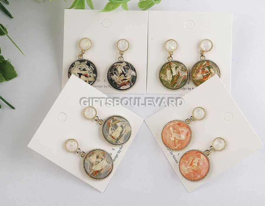 Round Hollow Carving Ethnic Dangle Earrings